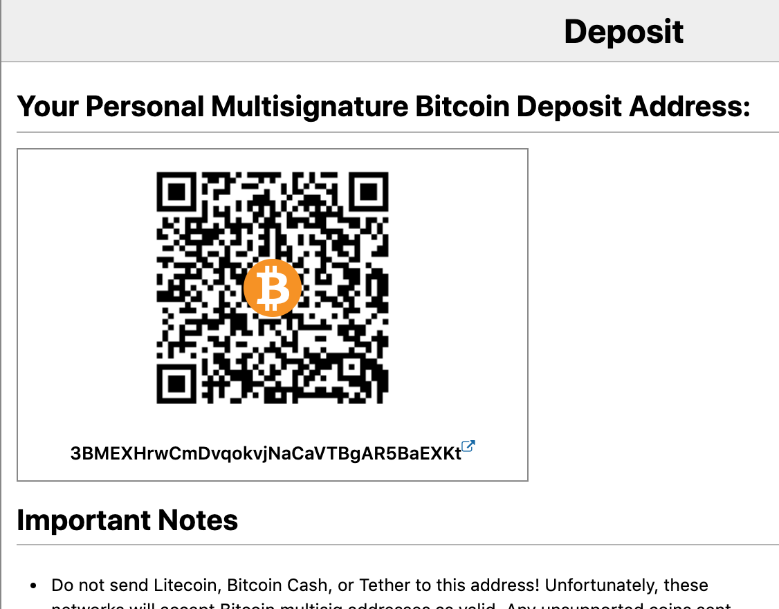 BitMEX uses a static P2SH address per user account.