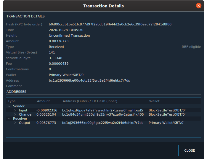 Transaction details includes RBF signaling