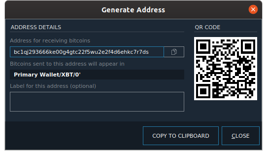 The BlockSettle Terminal displays the generated native bech32 segwit address