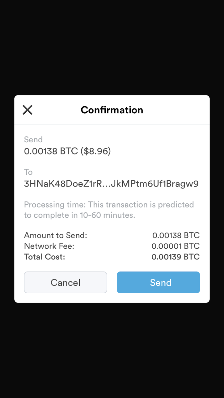 Sending Transaction - Transaction send confirmation prompt.