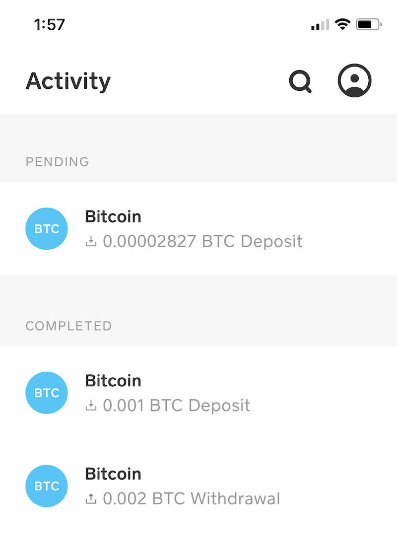 Receiving RBF Transaction - Transaction list screen. Unconfirmed incoming transactions are shown as 'Pending' unless the transaction signals RBF in which case it only appears in the 'Completed' list after confirmation.