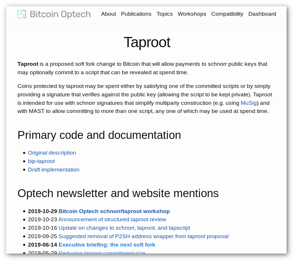 Example of a topic page: Taproot