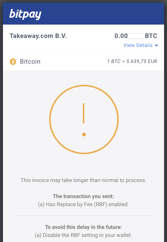 Bitpay payment receipt showing RBF warnings screenshot