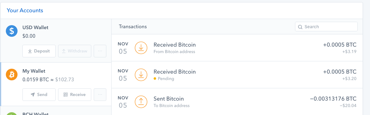 Coinbase transaction list showing pending transaction screenshot