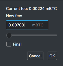 Electrum's dialog of advanced fee bumping options including slider and textbox screenshot