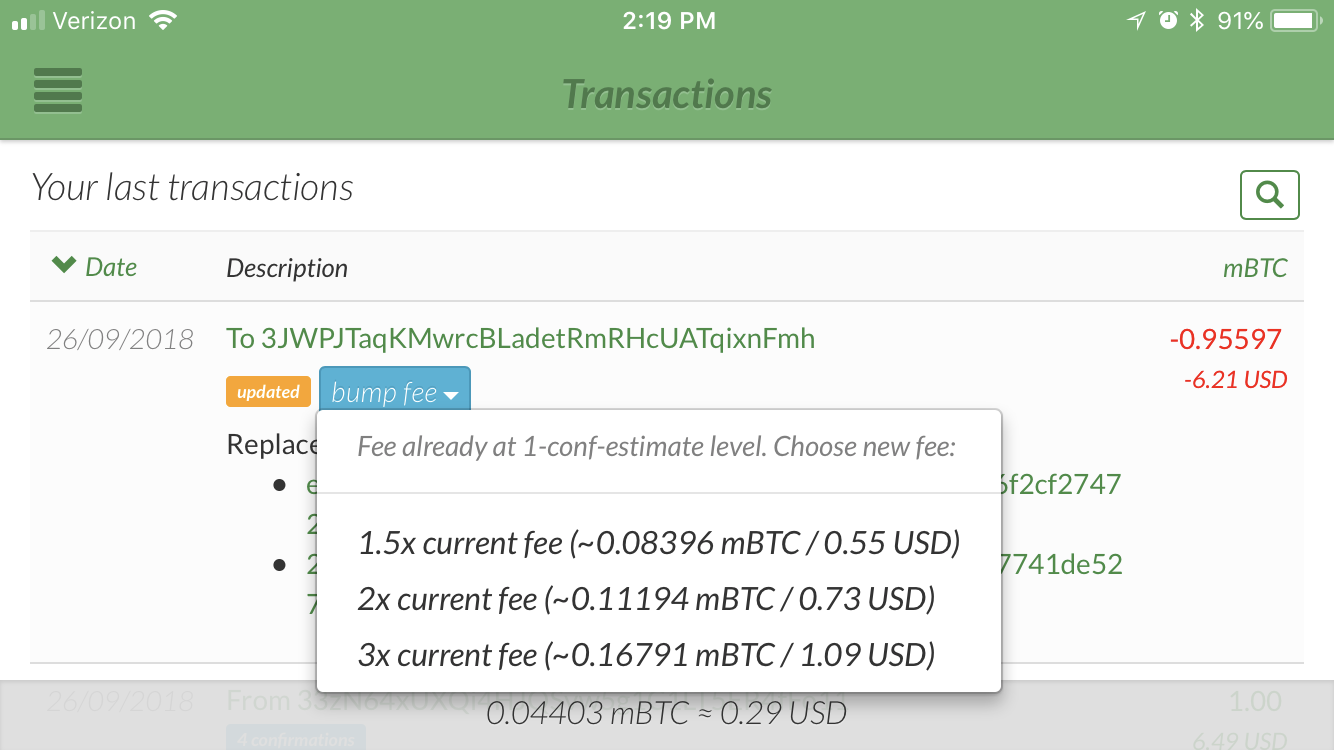 GreenAddress wallet shows a bump fee dropdown with fee options screenshot