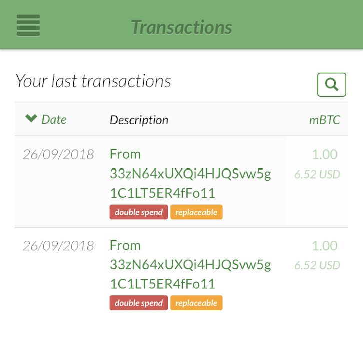GreenAddress labeling of RBF transaction screenshot