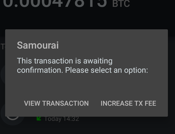 Samourai wallet increase transaction fee dialog screenshot